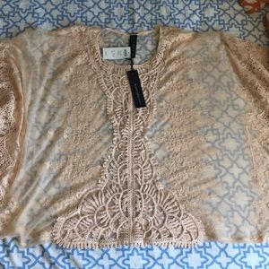 Lace Poncho Woven Top - Sheer Petal S/M